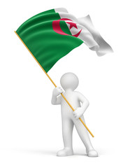 Man and Algerian flag (clipping path included)