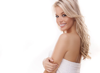 Beautiful woman with tousled blond hair