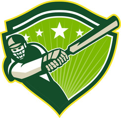 Cricket Player Batsman Star Crest Retro