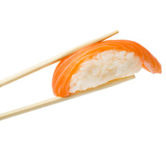 Salmon sushi nigiri with chopsticks