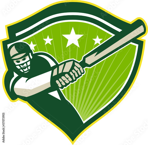 Cricket Player Batsman Star Crest Retro