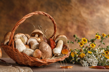 Still life with basket of mushrooms