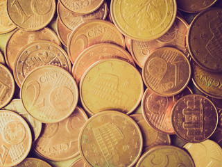 Euro coins background retro looking