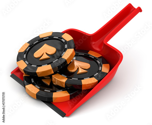 Dustpan and casino chips (clipping path included)