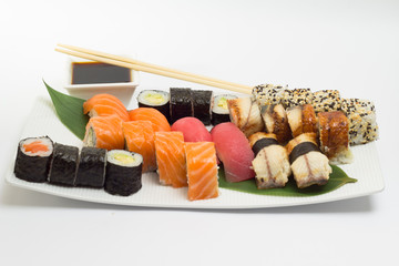 Sushi rolls and nigiri made dish