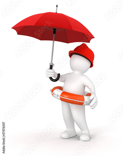 Man with Lifebuoy under Umbrella (clipping path included)
