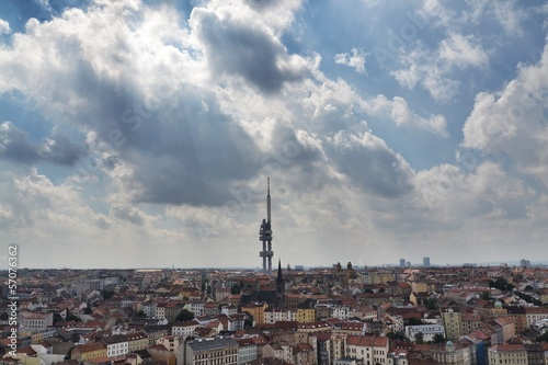 Panorama with the Zizkov Television Tower, Prague