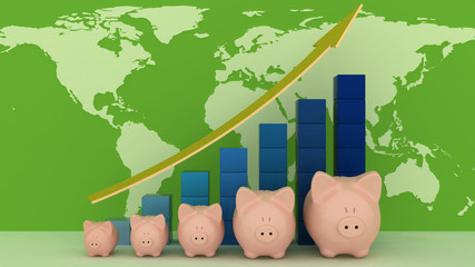 Piggy banks with colorful chart on a map background.