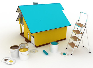 3d house with paints and step-ladder on a white