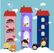 Happy children with houses vector