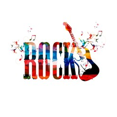 Colorful rock vector background with guitar