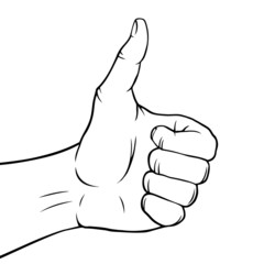 Black and white hand showing a thumbs up gesture.