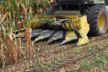 Closeup of the blades on a combine harvester