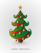 Merry Christmas tree with gold baubles EPS10 file.