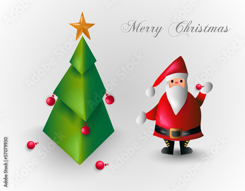 Merry Christmas tree and Santa Claus EPS10 file.