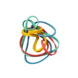 Tangled colorful elastic rubber bands isolated on a white backgr