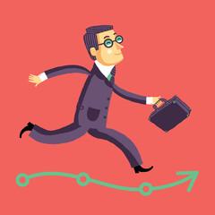 Бегущий бизнесмен на пути к успеху или карьере.
