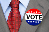 Vote pin on brown suit