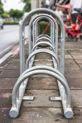 Bike Parking Rack ,Photo of a bicycle parking rack in Bangkok Th