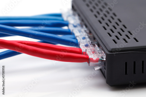 LAN network switch with ethernet cables plugged in