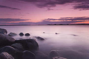 Beautiful sundawn from the Swedish coastline, wide angle photo