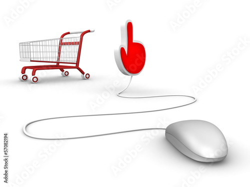 mouse and hand symbol with shopping trolley