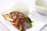 Chinese style roasted duck with rice and soup