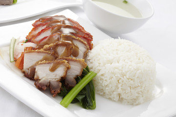 Chinese style roasted pork with rice and soup