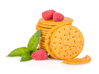 Stack of crackers with mint and berries