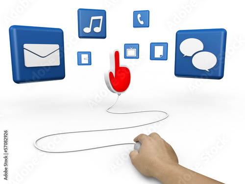 mouse and hand cursor with  social media symbol