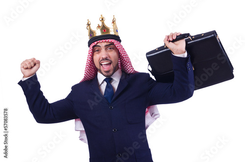 Arab businessman with crown on white