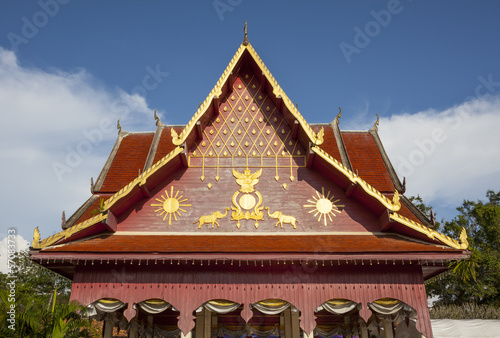Gable details of Wat Phra That Chae Hang, Thailand