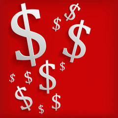 White dollar symbols on red background