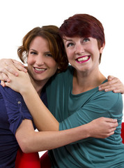 two women posing on white background as Best Friends Forever