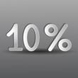 бумажные десять процентов на сером фоне