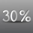 бумажные тридцать процентов на сером фоне