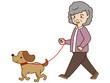 犬の散歩(シニア女性)