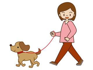 犬の散歩(若い女性)