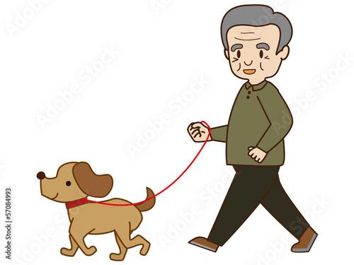 犬の散歩(シニア男性)