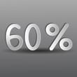 бумажные шестьдесят процентов на сером фоне