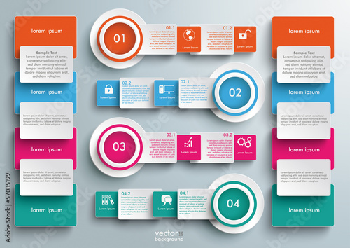 Four Colored Banners Batched Rectangles Big Infographic
