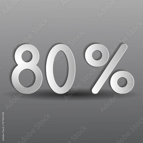 бумажные восемьдесят процентов на сером фоне