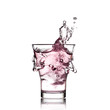 Glass with pink water