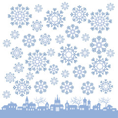 Stylized winter town with snowflakes