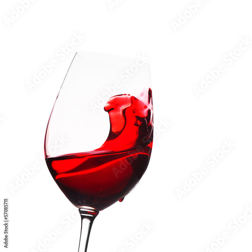 Glass of wine with splash