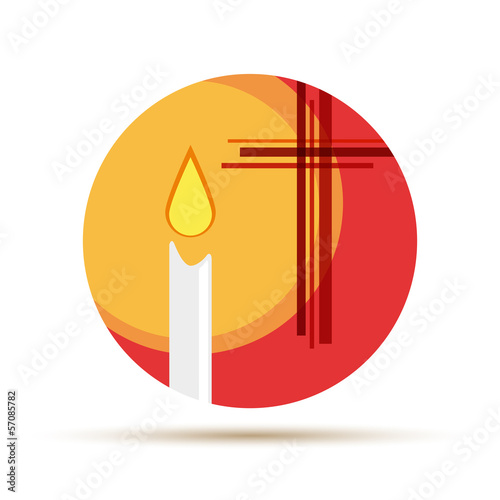 Vector logo candle in the church