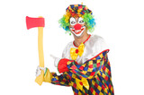 Clown with axe isolated on white