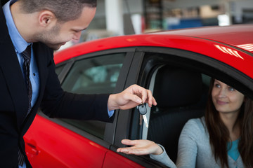 Client receiving car keys