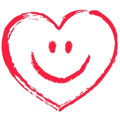 Ein rotes, locker gezeichnetes Smiley-Herz, Vektor/freigestellt