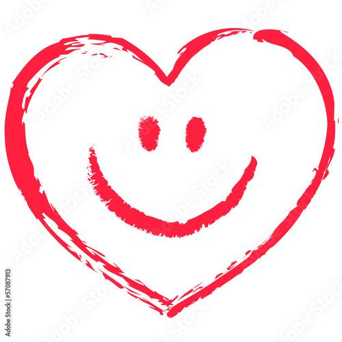 Ein Rotes Locker Gezeichnetes Smiley Herz Vektor